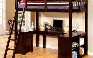 Детская кровать чердак со столом — стильные модели в интерьере