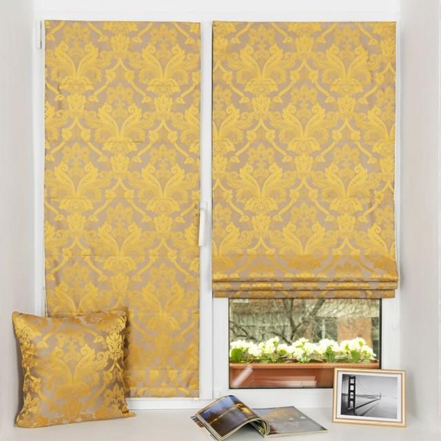 Золотые шторы: примеры и фото в интерьере гостиной, спальни и кухни