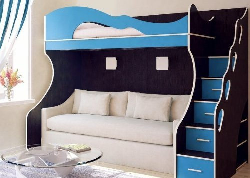 Кровать-чердак с диваном: особенности применения в интерьере