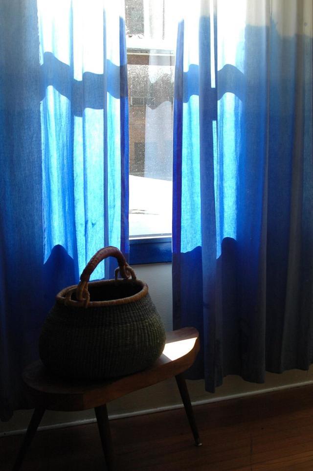 Шторы омбре и тюль градиент с переходом цвета от темного к светлому