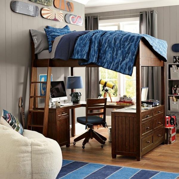 Кровать-чердак с рабочей зоной: функциональные особенности