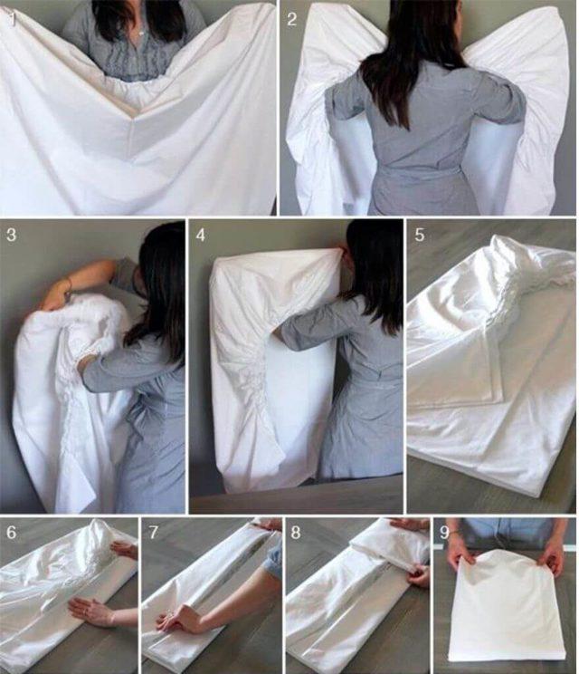 Складываем простынь на резинке легко, просто и быстро