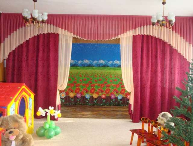 Шторы для детского сада: варианты в музыкальный зал, в игровые группы, фото