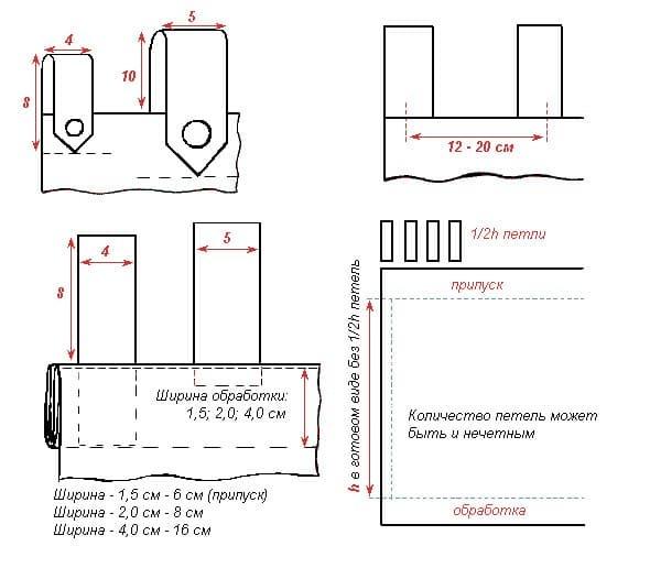 Как сделать петельки на шторы вручную, из ниток иголкой, петли для крючков