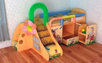 Детская кровать-чердак с горкой и игровой зоной. Модели в интерьере