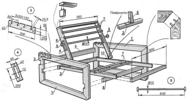 Как сделать кресло для дачи из дерева своими руками - инструкция
