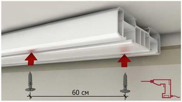 Как правильно вешать карнизы для штор относительно окна: расстояние от потолка