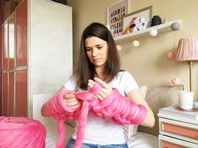 Плед крупной вязки из шерсти мериноса своими руками