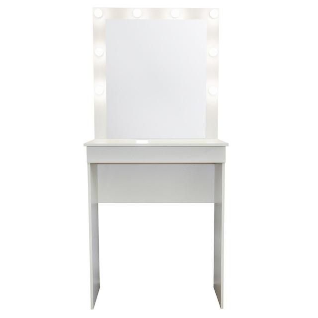 Гримерные столики с зеркалом и подсветкой в интерьере дома. 75 фото