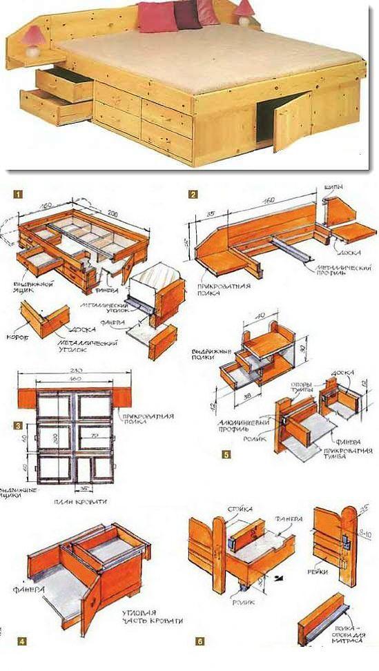 Кровать своими руками: чертежи, инструкция, фото-идеи