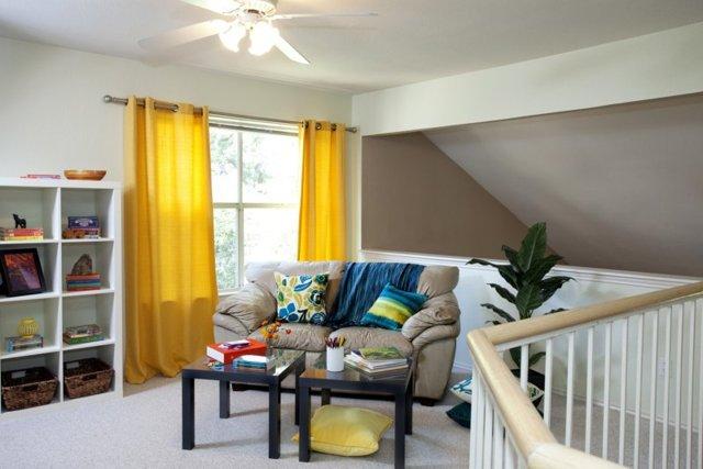 Желтые шторы в интерьере кухни, детской, спальни и гостиной, фото
