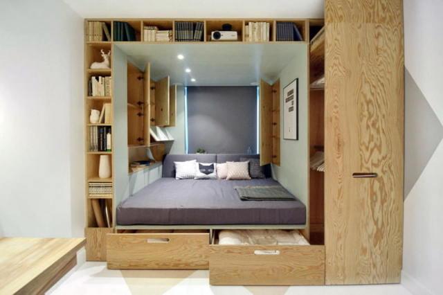 Кровать в нише однокомнатной квартиры: особенности применения