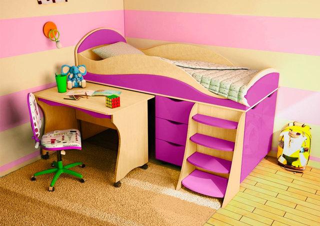 Детская кровать чердак со столом - стильные модели в интерьере