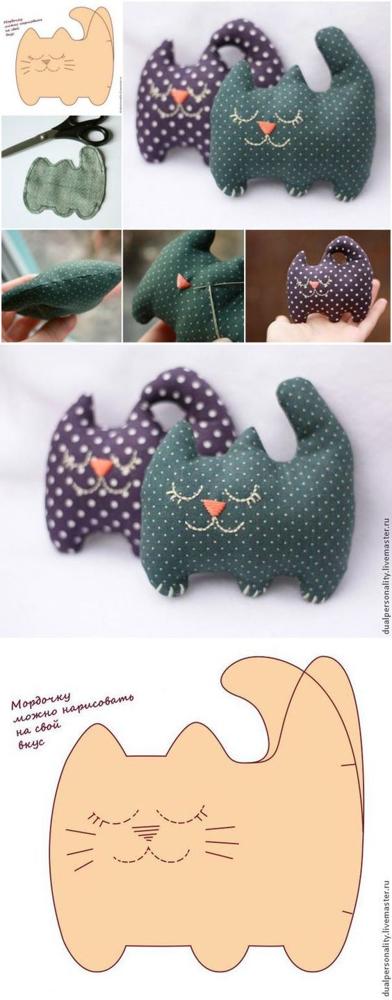 Очаровательные подушки коты своими руками. Выкройки и примеры