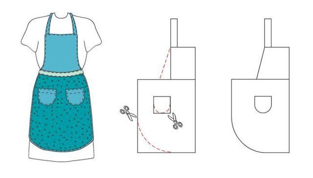 Как сшить фартук: выкройка без нагрудника для кухни, разные модели