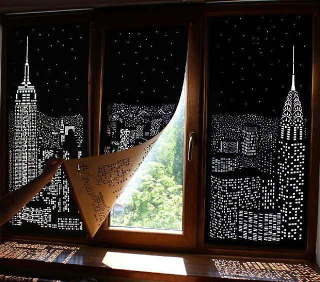 Перфорированные рулонные шторы Ночной город: описание, материалы и ткани