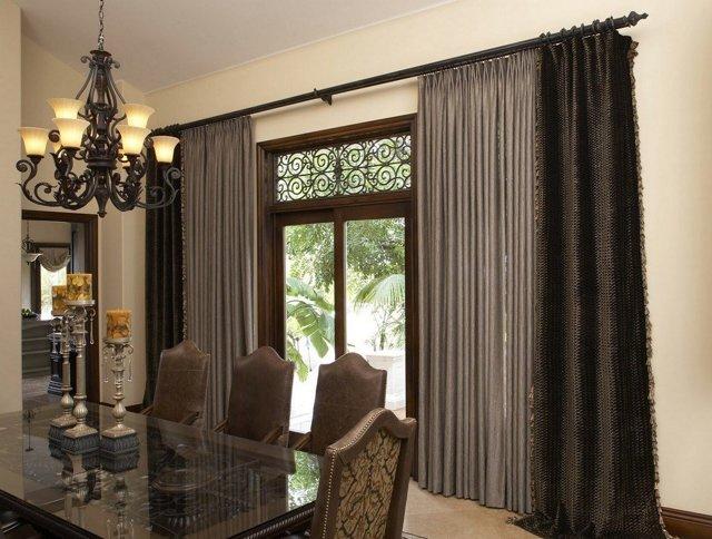 Коричневые шторы: примеры в интерьере гостиной, зала, спальни, фото