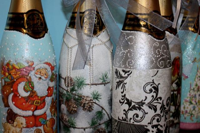 Декупаж бутылок салфетками: как сделать своими руками на пластиковой таре