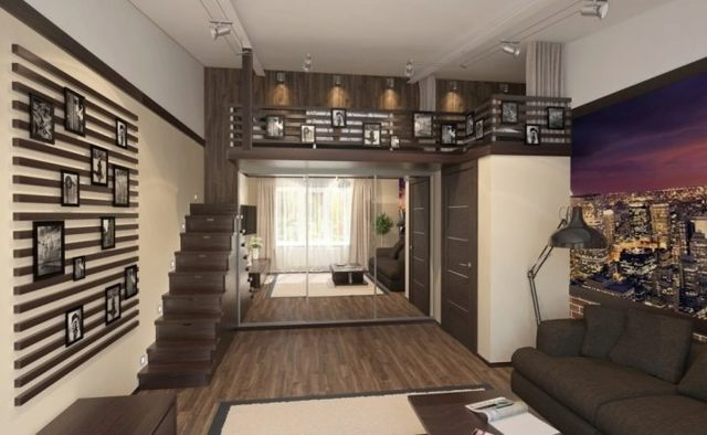 Кровать-чердак для взрослых для малогабаритной квартиры
